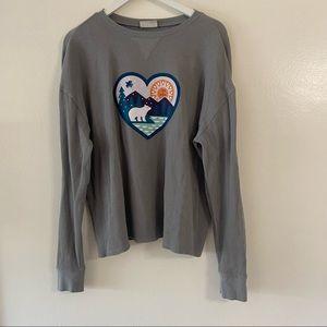 Life Is Good Shirt Thermal Long Sleeve Grey Polar Bear Winter Mountains